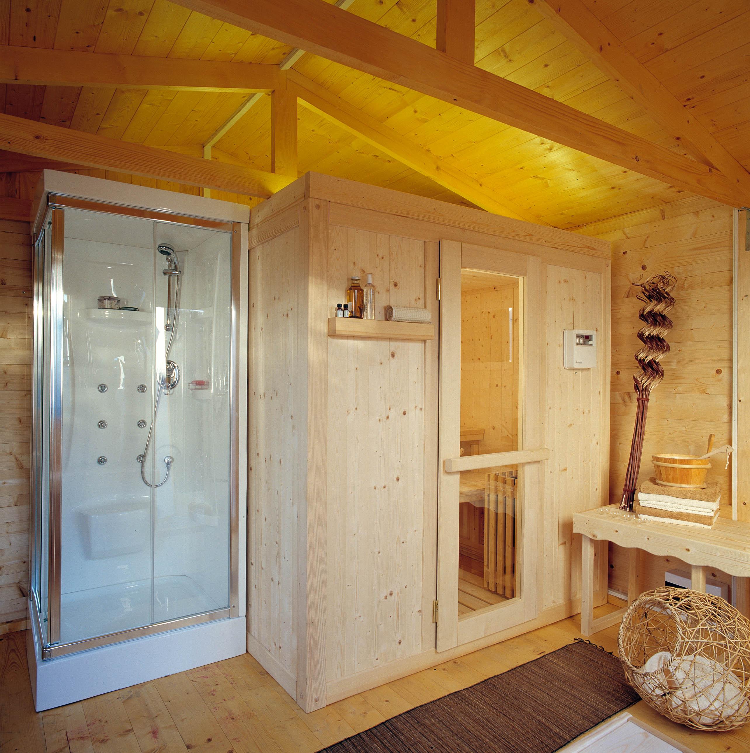 Modelli sauna finlandese e sauna con bagno turco hammam in - Sauna per casa prezzi ...
