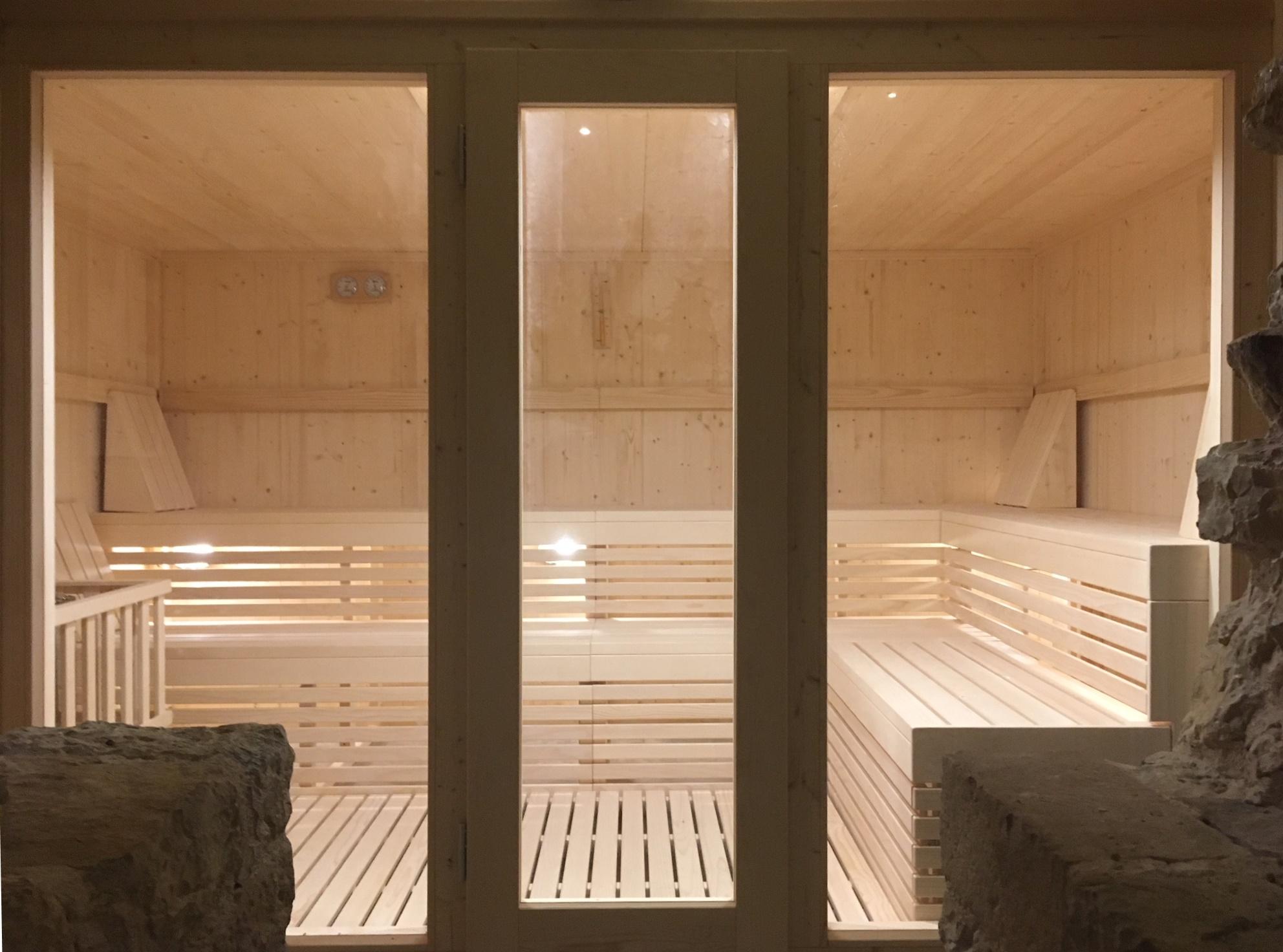 Modelli sauna finlandese e sauna con bagno turco hammam in kit di